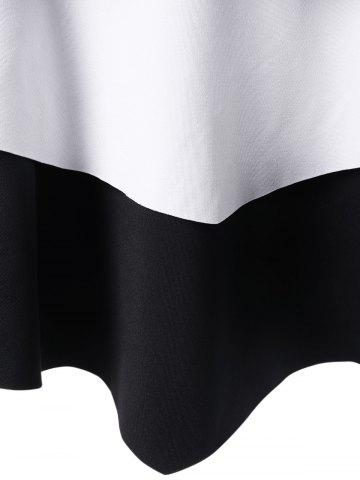 Best Layered Two Tone Tank Top - 2XL WHITE AND BLACK Mobile
