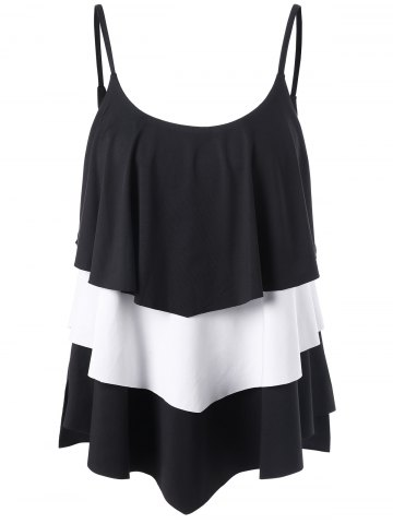 Chic Layered Two Tone Tank Top WHITE AND BLACK 2XL