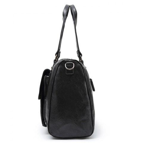 Sale Zips Detail Cross Body Tote Bag - BLACK  Mobile