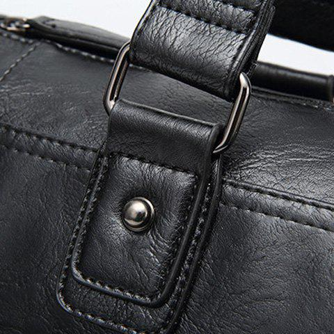 Trendy Zips Detail Cross Body Tote Bag - BLACK  Mobile