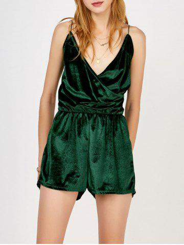 Sale Spaghetti Strap Surplice Velvet Romper BLACKISH GREEN L