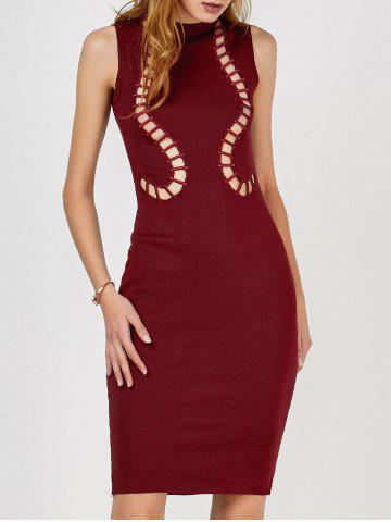 Cut Out Tank Sweater Fitted Dress - Wine Red - One Size