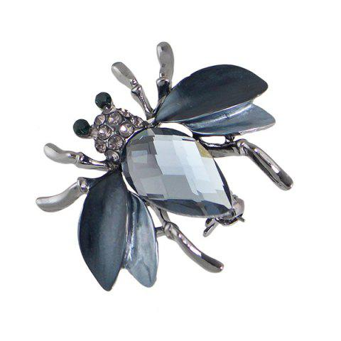 Hot Faux Gem Rhinestone Insect Brooch - BLACK  Mobile