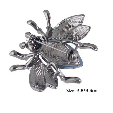 Cheap Faux Gem Rhinestone Insect Brooch - BLACK  Mobile