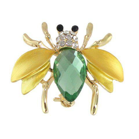 Hot Faux Gem Rhinestone Insect Brooch - GOLDEN  Mobile