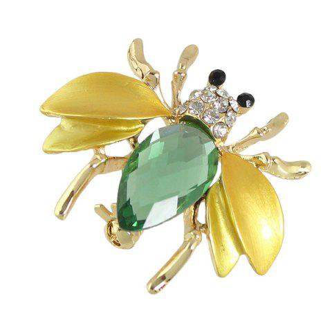 Fashion Faux Gem Rhinestone Insect Brooch - GOLDEN  Mobile