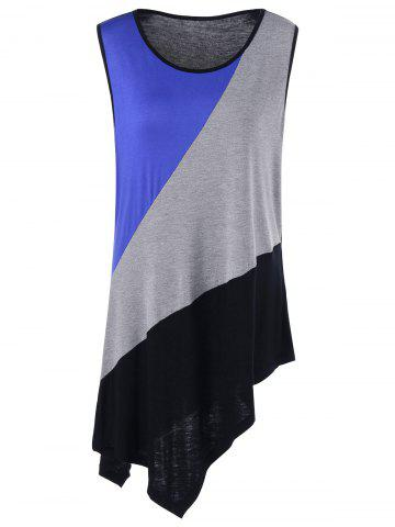 Plus Size Asymmetrical Color Block Tank Top - Colormix - Xl