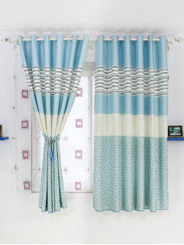 Buy Color Block Design Window Shade Blackout Curtain BLUE 100*200CM