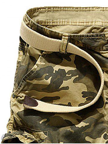 Buy Zipper Fly Camouflage Stud Embellished Cargo Shorts - 30 KHAKI Mobile