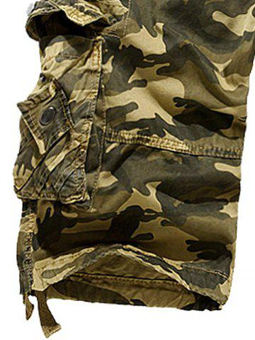 Unique Zipper Fly Camouflage Stud Embellished Cargo Shorts - 30 KHAKI Mobile