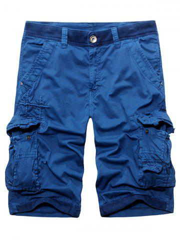 Online Rib Panel Stud Embellished Zipper Fly Cargo Shorts