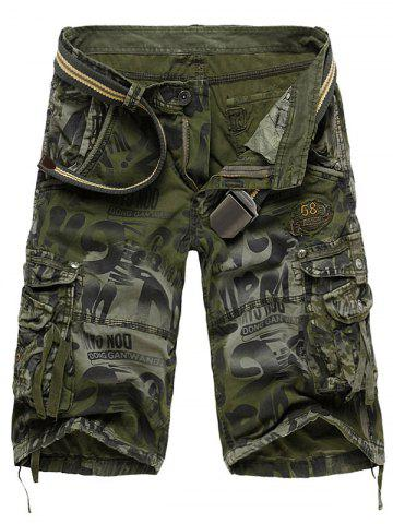 Buy Graphic Print Tie Dye Applique Cargo Shorts - Army Green 38