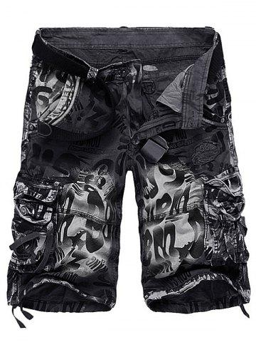 Hot Graphic Print Tie Dye Applique Cargo Shorts - 34 GRAY Mobile