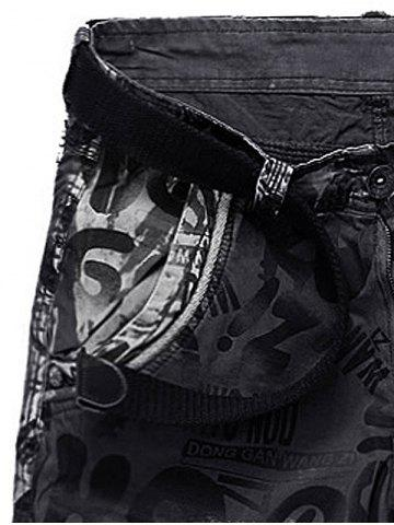 Affordable Graphic Print Tie Dye Applique Cargo Shorts - 38 GRAY Mobile