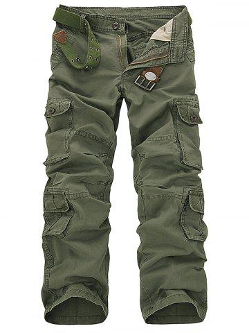 Chic Pockets Design Slimming Cargo Pants - 33 ARMY GREEN Mobile