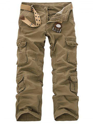 Affordable Pockets Design Slimming Cargo Pants - 32 KHAKI Mobile