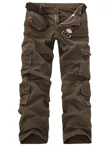Discount Pockets Design Slimming Cargo Pants - 33 COFFEE Mobile