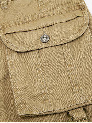 Online String Embellished Multi Pocket Cargo Pants - 38 KHAKI Mobile