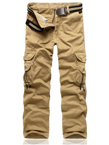 Hot String Embellished Multi Pocket Cargo Pants - 38 KHAKI Mobile