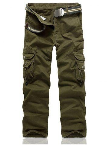 Fancy String Embellished Multi Pocket Cargo Pants - 33 ARMY GREEN Mobile
