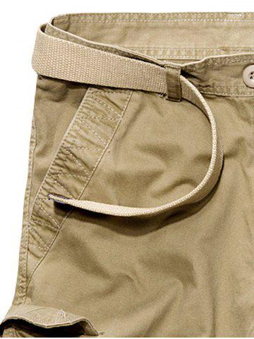 Buy Multi Pockets Zipper Fly Cargo Shorts - 34 KHAKI Mobile