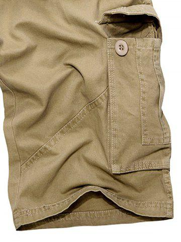 Affordable Multi Pockets Zipper Fly Cargo Shorts - 38 KHAKI Mobile