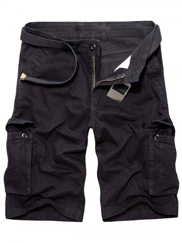 Hot Multi Pockets Zipper Fly Cargo Shorts - 32 BLACK Mobile