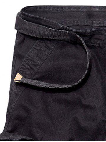 Discount Multi Pockets Zipper Fly Cargo Shorts - 30 BLACK Mobile
