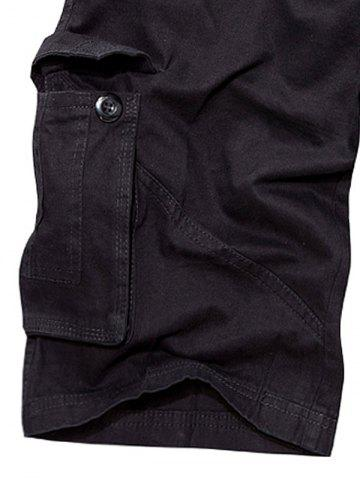 Affordable Multi Pockets Zipper Fly Cargo Shorts - 30 BLACK Mobile