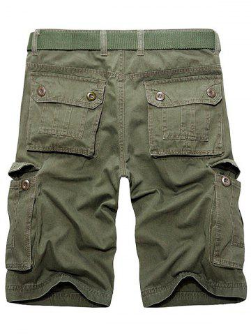 Online Multi Pockets Zipper Fly Cargo Shorts - 38 ARMY GREEN Mobile
