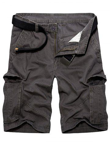 Discount Multi Pockets Zipper Fly Cargo Shorts - 36 DEEP GRAY Mobile