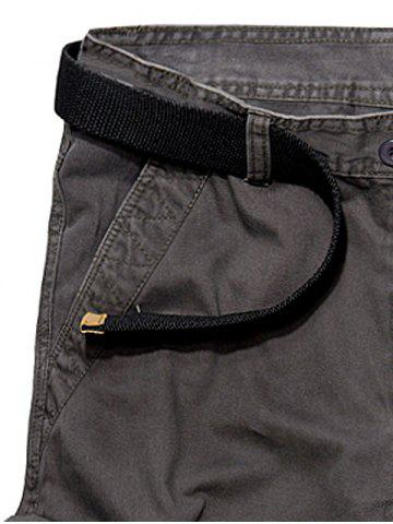 Fancy Multi Pockets Zipper Fly Cargo Shorts - 33 DEEP GRAY Mobile