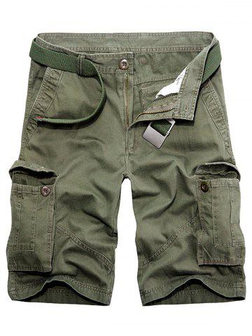 Online Multi Pockets Zipper Fly Cargo Shorts - 32 ARMY GREEN Mobile