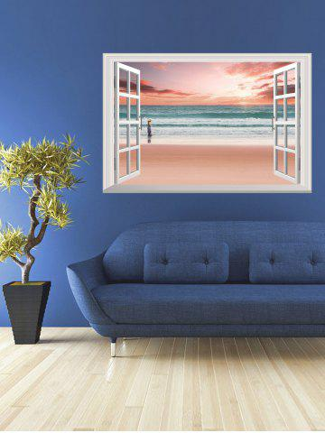 Affordable Removable 3D Sunset Beach Fake Window Wall Sticker - 50*70CM PINK Mobile