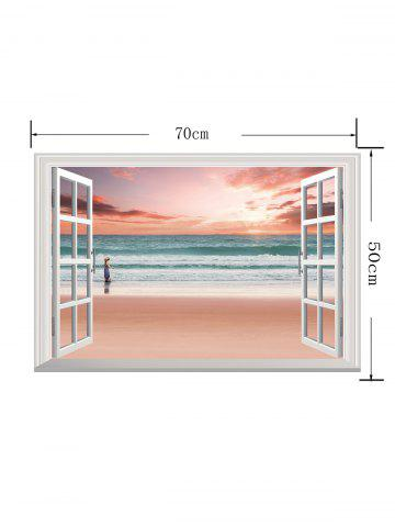 Hot Removable 3D Sunset Beach Fake Window Wall Sticker - 50*70CM PINK Mobile
