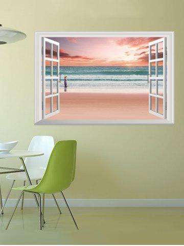 Buy Removable 3D Sunset Beach Fake Window Wall Sticker - 50*70CM PINK Mobile