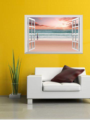 Fancy Removable 3D Sunset Beach Fake Window Wall Sticker - 50*70CM PINK Mobile