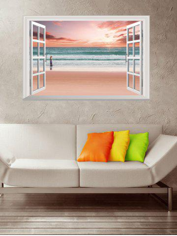 Store Removable 3D Sunset Beach Fake Window Wall Sticker - 50*70CM PINK Mobile