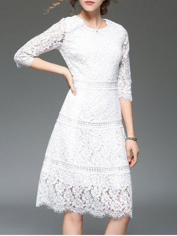 Affordable Vintage Scalloped Lace A Line Evening Dress - S WHITE Mobile