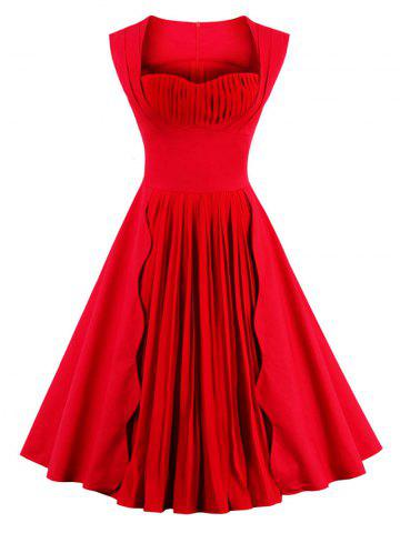 Sweetheart cou sans manches Pin Up Dress Rouge L