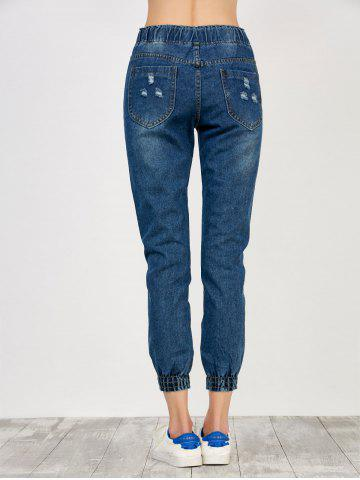 Chic High Rise Drawstring Distressed Jeans - S DEEP BLUE Mobile