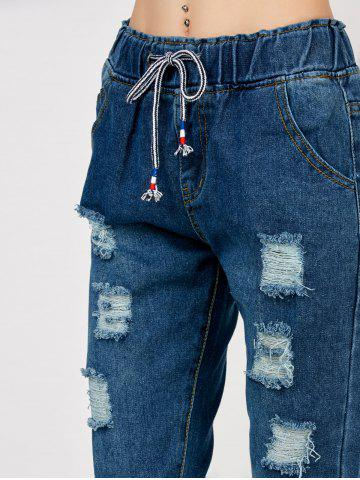 Affordable High Rise Drawstring Distressed Jeans - S DEEP BLUE Mobile