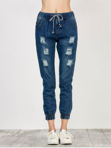 Shops High Rise Drawstring Distressed Jeans - S DEEP BLUE Mobile