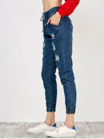 Outfit High Rise Drawstring Distressed Jeans - S DEEP BLUE Mobile