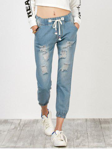High Rise Drawstring Distressed Jeans Bleu clair S