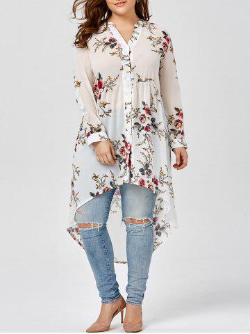 Chiffon Floral Plus Size Top - White - Xl