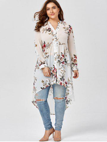 New Chiffon Floral Plus Size Top - 2XL WHITE Mobile