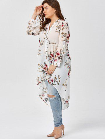 Buy Chiffon Floral Plus Size Top - 2XL WHITE Mobile