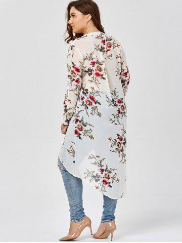 Unique Chiffon Floral Plus Size Top - 2XL WHITE Mobile