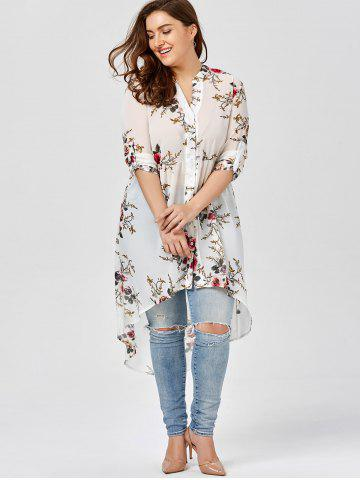 Store Chiffon Floral Plus Size Top - 2XL WHITE Mobile